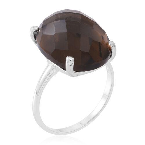 ROSE CUT Brazilian Smoky Quartz (Ovl) Ring in Sterling Silver 19.000 Ct.