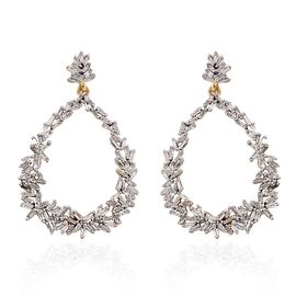 GP Diamond (Bgt), Kanchanaburi Blue Sapphire Drop Earrings (with Push Back) in 14K Gold Overlay Sterling Silver 1.040 Ct.