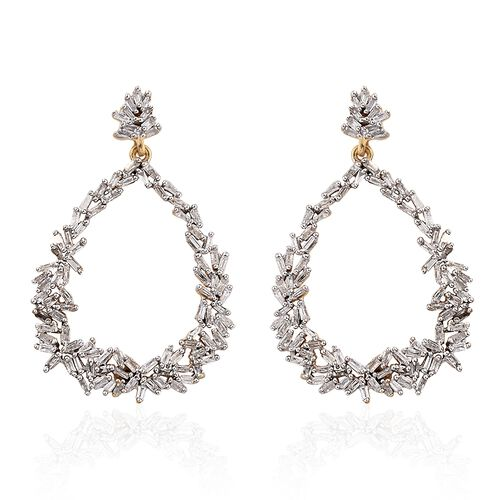 GP Diamond (Bgt), Kanchanaburi Blue Sapphire Drop Earrings (with Push Back) in 14K Gold Overlay Sterling Silver 1.040 Ct. Number of Diamonds 192
