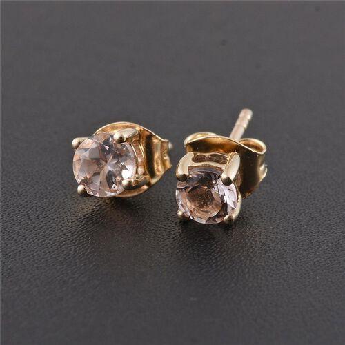 9K Yellow Gold 0.75 ct. AA Marropino Morganite Solitaire Stud Earrings