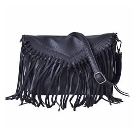 Black Colour Crossbody Bag with Tassels and Adjustable and Removable Shoulder Strap (Size 26x18 Cm)