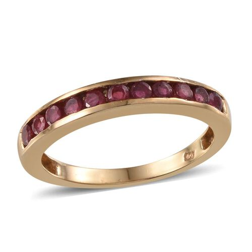 African Ruby (Rnd) Half Eternity Band Ring in 14K Gold Overlay Sterling Silver 1.000 Ct.