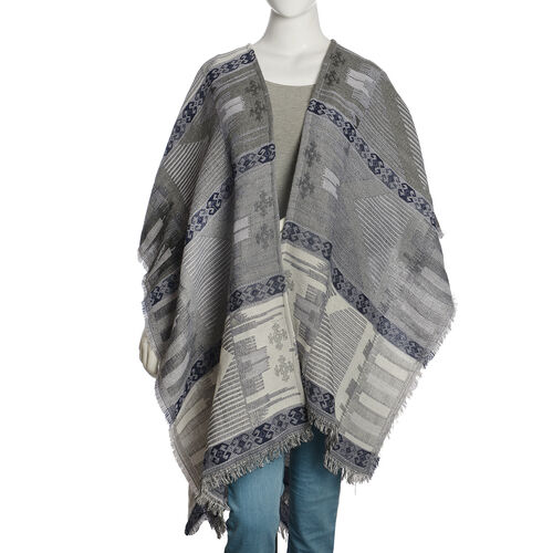 Limited Available - Italian Designer Inspired Grey, Black and Multi Colour Woven Poncho (Free Size)