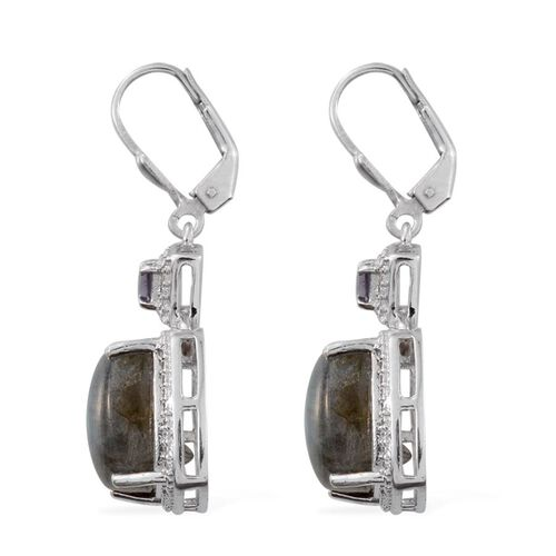 Labradorite (Cush), Amethyst Lever Back Earrings in Platinum Overlay Sterling Silver 14.300 Ct.
