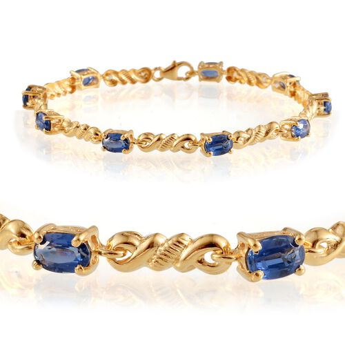 Himalayan Kyanite (Ovl) Bracelet in 14K Gold Overlay Sterling Silver (Size 7.5) 6.750 Ct.