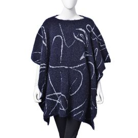One Time Deal-Navy and White Colour Abstract Stripes Pattern Knitted Poncho (Size 142X90 Cm)