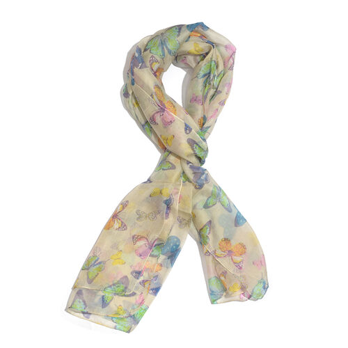 SILK MARK- Made in Kashmir 100% Silk Blue and Multi Colour Butterfly Pattern Honey Yellow Colour Scarf (Size 180x50 Cm)