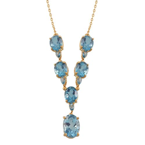 River Quartz (Ovl 6.50 Ct), Blue Topaz Necklace (Size 18) in 14K Gold Overlay Sterling Silver 24.500 Ct.