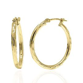 Vicenza Collection 9K Yellow Gold Diamond Cut Hoop Earrings (with Clasp)