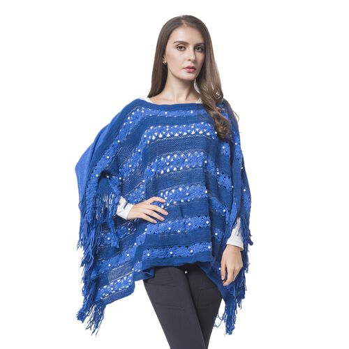 Simulated Pearl Embellished Light and Dark Blue Colour Knitted Poncho with Tassels (Size 120X55 Cm)