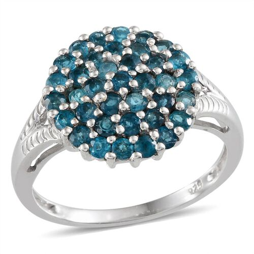 Malgache Neon Apatite (Rnd) Cluster Ring in Platinum Overlay Sterling Silver 1.500 Ct.