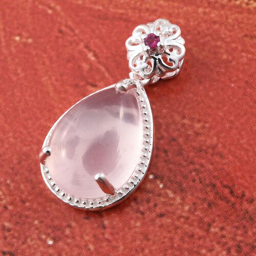 Rose Quartz (Pear), Ouro Fino Rubelite Pendant in Sterling Silver 7.000 Ct.