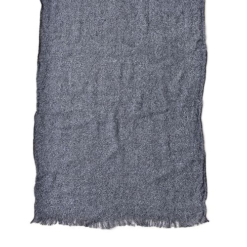 Italian Designer Inspired-Black Colour Knitted Scarf with Fringes (Size 190X55 Cm)