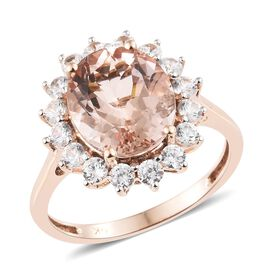 Limited Available- 9K Rose Gold AAA Rare Size Marropino Morganite (Ovl 4.00 Ct), Natural Cambodian Zircon Ring 5.500 Ct.