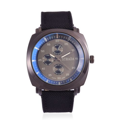STRADA Japanese Movement Chronograph Look Black Dial Water Resistant Watch in Black Tone with Stainless Steel Back and Black Strap