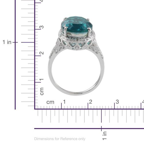 Capri Blue Quartz (Ovl 10.75 Ct), Diamond Ring in Platinum Overlay Sterling Silver 10.800 Ct.