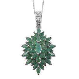 Kagem Zambian Emerald (Mrq) Cluster Pendant With Chain in Platinum Overlay Sterling Silver 3.000 Ct.
