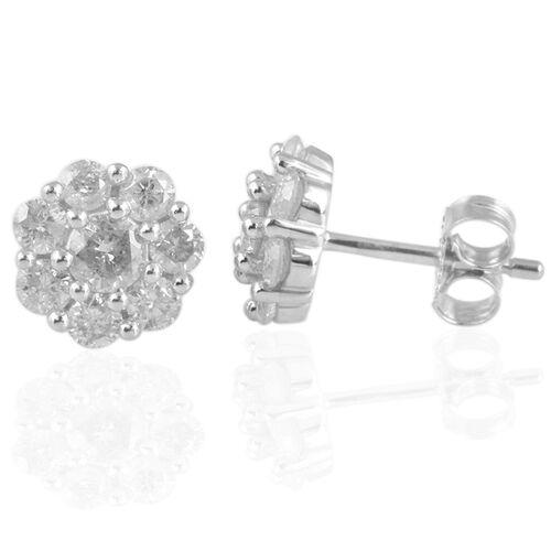 9K White Gold SGL Certified Diamond (Rnd) (I3/G-H) Flower Stud Earrings (with Push Back) 1.000 Ct.