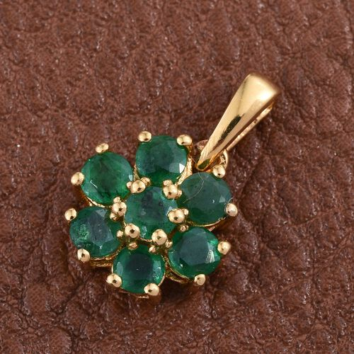 Brazilian Emerald (Rnd) 7 Stone Floral Pendant in 14K Gold Overlay Sterling Silver 1.000 Ct.