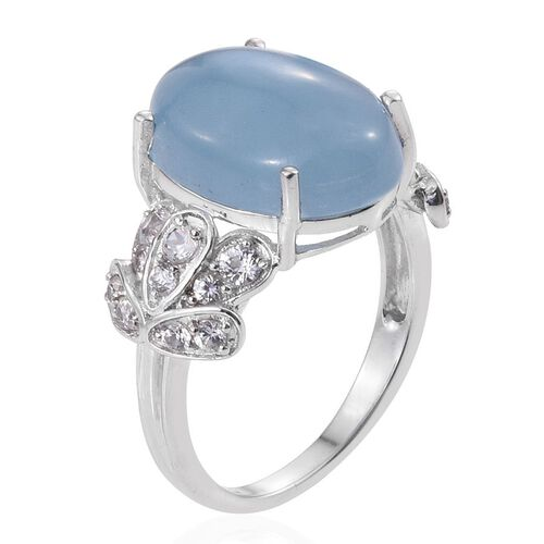 Blue Jade (Ovl 13.35 Ct), Natural Cambodian Zircon Ring in Platinum Overlay Sterling Silver 14.750 Ct.