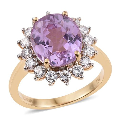 ILIANA 18K Yellow Gold AAAA Brazilian Kunzite (Ovl 5.50 Ct), Diamond (SI/G-H) Ring 6.500 Ct.