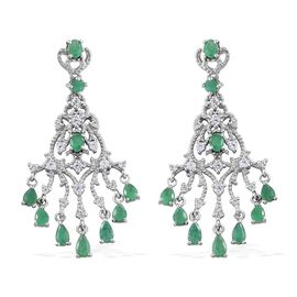 Kagem Zambian Emerald (Pear), Natural Cambodian Zircon Chandelier Earrings (with Push Back) in Platinum Overlay Sterling Silver 4.250 Ct. Silver wt. 8.91 Gms.