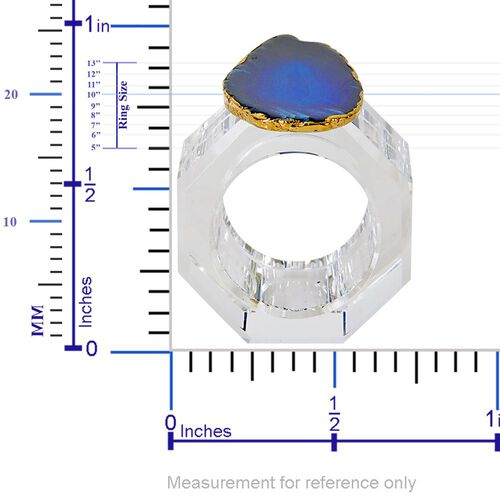 Dark Blue Agate Napkin Ring and Coaster in Yellow Gold Tone 500.00 Ct.