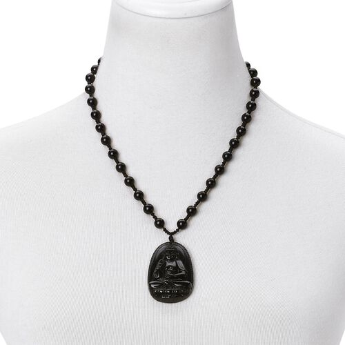 Natural Chinese Obsidian Hand Carved Buddha Pendant Necklace (Adjustable up to 30 Inches) 235.00 Ct.