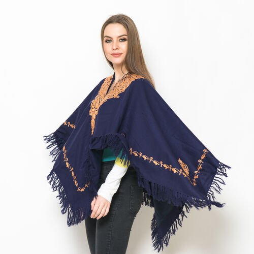 Hand Embroidered Paisley Pattern Kashmiri Blue Woollen Poncho - One Size for all.