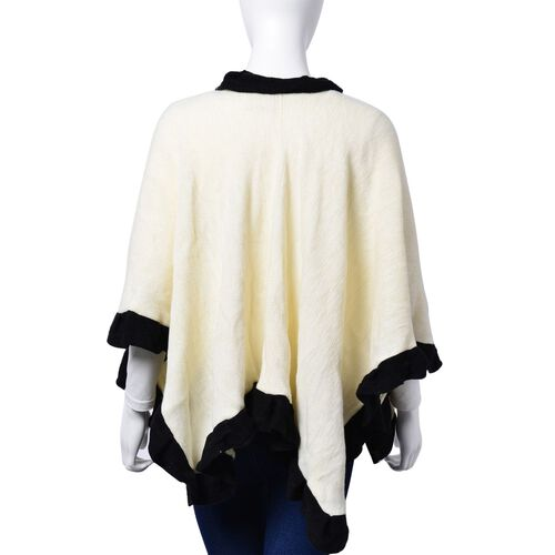 Designer Inspired - Cream and Black Colour Poncho (Size 100x50 Cm)