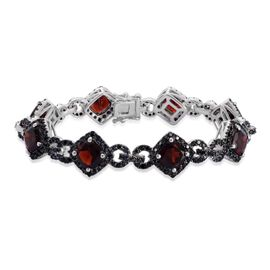 Indian Garnet (Cush), Boi Ploi Black Spinel Bracelet (Size 7) in Black Rhodium Plated Silver 28.220 Ct. Silver wt 14.00 Gms. Number of Gemstone 272