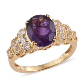 Amethyst (Ovl 3.25 Ct), White Topaz Ring in 14K Gold Overlay Sterling Silver 4.250 Ct.
