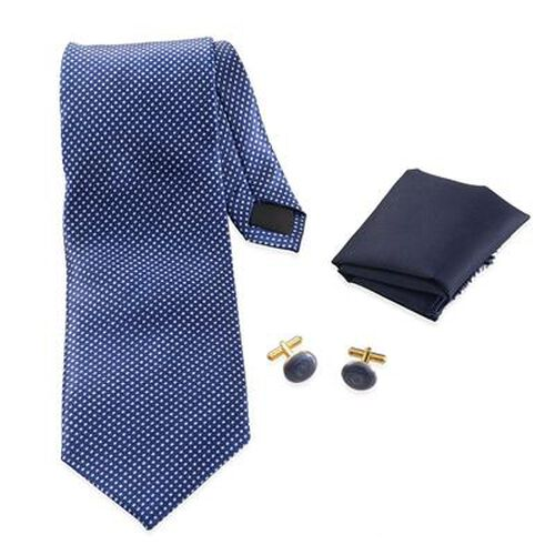 Blue Colour Tie, Pocket Square and Cufflinks in a Presentation Box