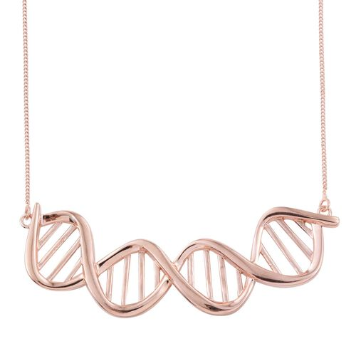 Science Jewellery - DNA Chromosomes Silver Necklace in Rose Gold Overlay (Size 18), Silver wt 7.00 Gms.