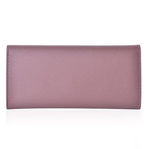 Purple Colour Ladies Wallet with Multiple Card Slots and Metallic Leaf at Front (Size 19X10X1 Cm)