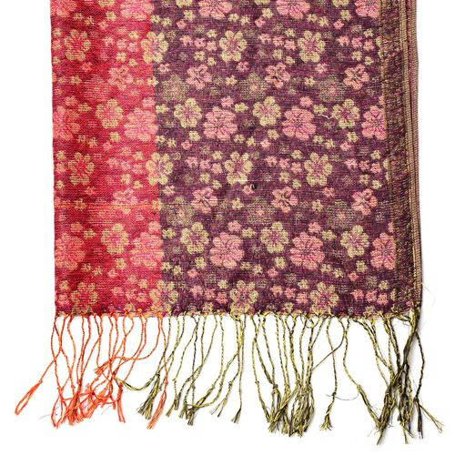 Yellow and Red Colour Small Plum Blossom Pattern Red and Black Colour Scarf with Fringes (Size 170x70 Cm)