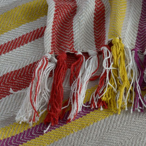 100% Cotton Purple, Grey, Yellow and Multi Colour Stripe Pattern Plaid with Tassels (Size 160x120 Cm)