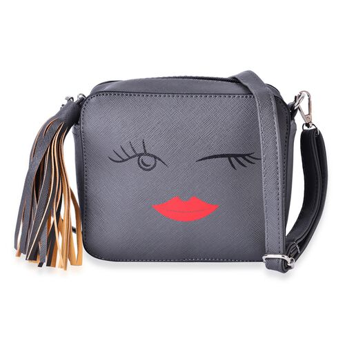 Grey Colour Summer Fun Winked Face Crossbody Bag with External Zipper Pocket and Adjustable Shoulder Strap with Tassels (Size 17.5x15x7 Cm)
