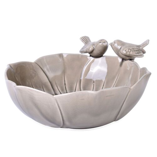 Grey Colour Twin Birds Standing Flower Shape Ceramic Fruit Plate (Size 25.5x8 Cm)