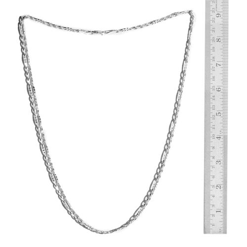 Vicenza Collection Sterling Silver Diamond Cut Figaro Necklace (Size 20), Silver wt 14.00 Gms.