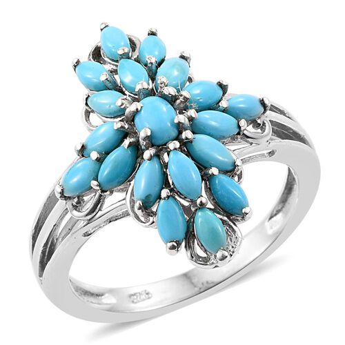 Arizona Sleeping Beauty Turquoise (Ovl) Ring in Platinum Overlay Sterling Silver 1.500 Ct.