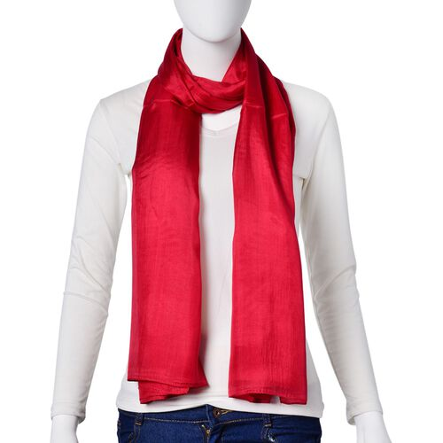 100% Mulberry Silk Red Colour Scarf (Size 180x110 Cm)