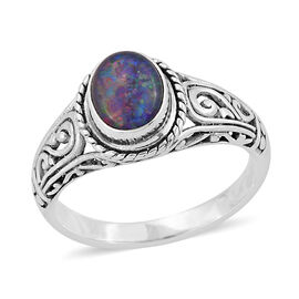 Royal Bali Collection Australian Boulder Opal (Ovl) Ring in Sterling Silver 1.330 Ct.