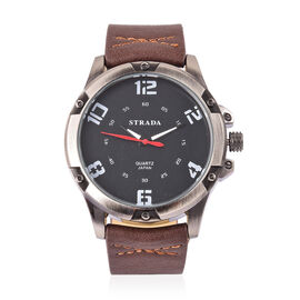 STRADA Japanese Movement Black Dial Water Resistant Watch in Black Tone with Stainless Steel Back and Chocolate Colour Strap