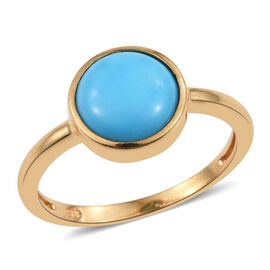 Arizona Sleeping Beauty Turquoise 2 Carat Round Solitaire Silver Ring in Gold Overlay Bezel Set.