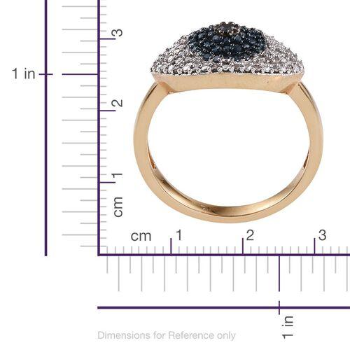 Black Diamond (Rnd), Blue and White Diamond Evil Eye Ring in 14K Gold Overlay Sterling Silver 0.350 Ct.