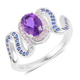 Amethyst, Simulated Tanzanite and Simulated Pink Sapphire Ring in Rhodium Plated Sterling Silver 1.100 Ct.