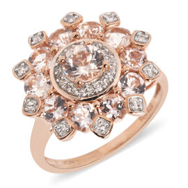 2.95 Ct Marropino Morganite and Natural Cambodian Zircon Ring in Rose Gold Plated Silver
