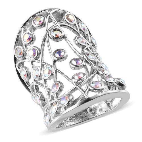 Crystal from Swarovski - AB Crystal (Rnd) Ring in Platinum Overlay Sterling Silver 1.400 Ct.