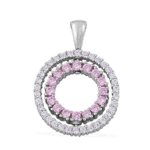 ELANZA AAA Simulated Pink Sapphire and Simulated White Diamond Pendant in Rhodium Plated Sterling Silver